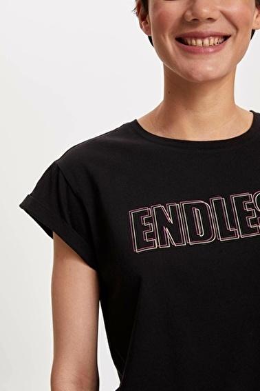 DeFacto Neon Yazı Baskılı T-shirt Siyah
